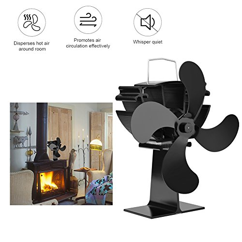 cheerfullus 4-Blade Heat Powered Stove Fan Silent Eco Friendly Heat Circulation for Wood/Log Burner/Fireplace by cheerfullus