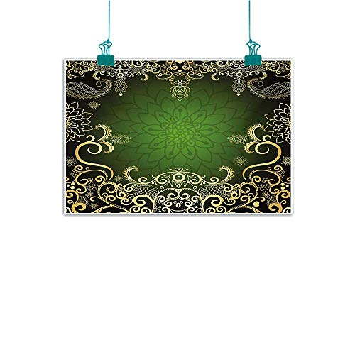 Mdxizc Art Canvas Print Mandala Arabesque Frame with Lotus Shade Floral Swirls Little Hearts and Dots Canvas Prints for Home Decorations W20 xL16 Green Black Pale Yellow