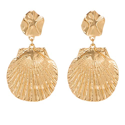 Haluoo Seashell Earrings, Chic Seashell Stud Earrings Vintage Sea Shell Drop Earrings Ocean Themed Statement Earrings Jewelry Gift for Women Girls (Gold)