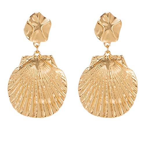 Kitt Fashion Stud Earrings Vintage Dangle Earrings for Women Girls, Personality Irregular Flower Shell Pendant Alloy Earrings Ladies Jewelry (Gold)