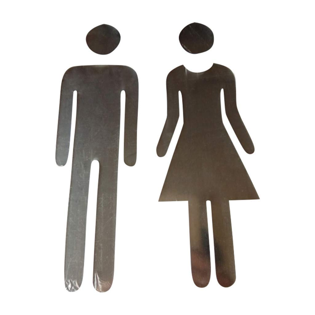 Jeash Mirror Sticker, Removable Funny Man Woman Washroom Toilet Public Bathroom WC Sticker Family DIY Door Accessories Entrance Sign Bathroom Personality Background Home Decoration (Silver)
