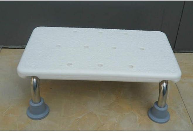 Bañera Taburete de 2 peldaños Escalera Asiento de ducha Pedal de acero inoxidable escalonado for adultos y niños Reposapiés de escalera blanca, Baño en el hogar Pequeño banco bajo, Puede soportar 150: