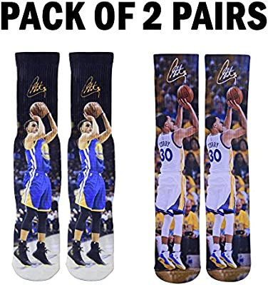 dcf97aa7765b Forever Fanatics Golden State Steph Curry  30 Basketball Crew Socks ✓ Pack  of 2 - Home   Away ✓ Perfect Gift ✓Stephen Curry Autographed ✓ One Size  Fits ...