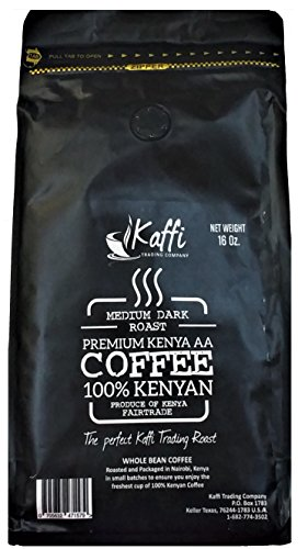Kaffi Medium Dark Roast Premium Kenya AA Whole Coffee Beans Fair Trade Certified 16 Ounce Resealable Bag Package