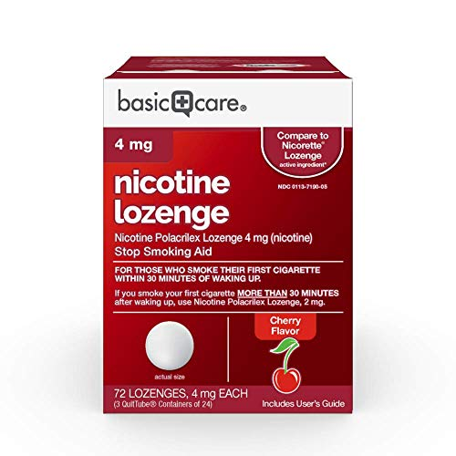 Basic Care Nicotine Lozenge, 4 mg, Cherry, 72 Count - Nicotine Replacement