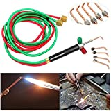 Mini Gas Little Torch Welding Soldering Gun Practical Gas Oxygen Acetylene Torch with Flexible Hoses for Jewelry Repairing with 5 Weld Tips