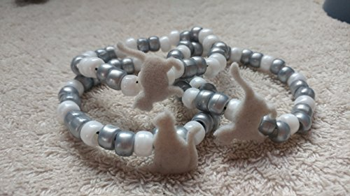 Fuzzy Grey Cats Kandi Bracelet - Kandi Cat