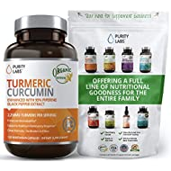 Organic Turmeric Curcumin 2,250MG. Highest Quality and Potency Available. Joint Pain and Arthritis Relief Supplement with 95% Standardized Curcuminoids and Black Pepper Bioperine for Best Absorption