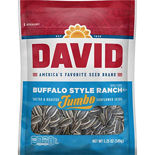 DAVID Roasted and Salted Buffalo Style Ranch Jumbo Sunflower Seeds, 5.25 oz, 12 Pack