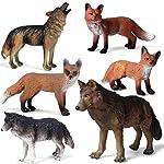 Kolobok – Safari Animals Action Figures – Wolves and Foxes Toy – Zoo Animals Family – 6 pcs