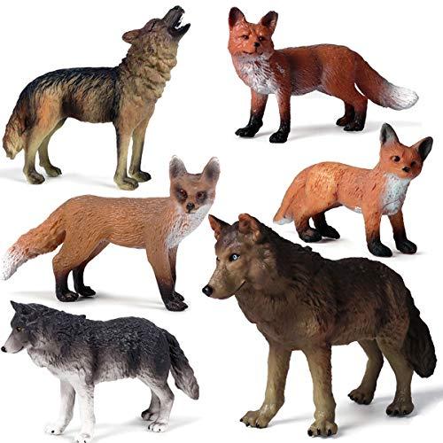 Kolobok - Safari Animals Action Figures - Wolves and Foxes Toy - Zoo Animals Family - 6 pcs