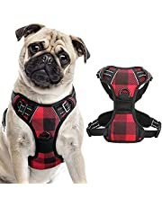 rabbitgoo Dog Harness No Pull, Adjustable Dog Walking Chest Harness with 2 Leash Clips, Comfort Padded Dog Vest Harness with Handle, Reflective Front Body Harness for Large Medium Small Dogs, Plaid
