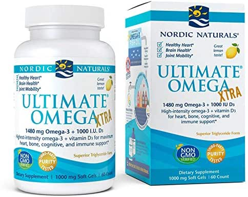 Nordic Naturals Ultimate Omega Xtra - Concentrated Omega-3 Burpless Fish Oil, Supports Heart Health, Brain Development, Healthy Joints, and Overall Wellness, Lemon Flavor, 60 Count (FFP)