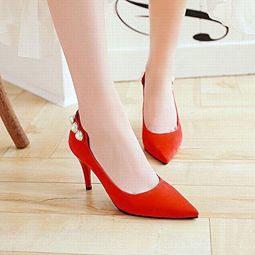 Charm Foot Womens Elegante Scarpe A Punta Tacco Alto Da Donna Rosso