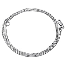 10K White Gold 0.5mm Box Chain Necklace Lobster Clasp