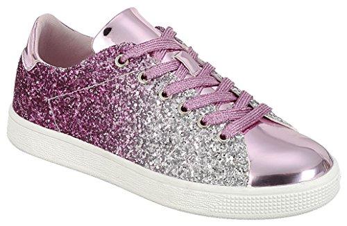 Cambridge Select Dames Gesloten Ronde Neus Lace-up Ombre Glitter Flatform Fashion Sneaker Roze