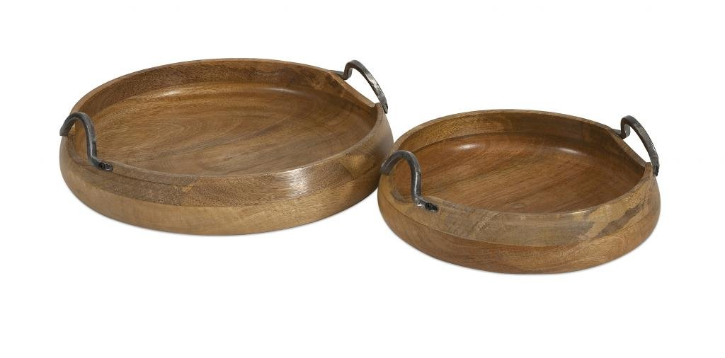 Decoratively Adorable Vallari Round Wood Trays - Set of 2 Home Trays Décor