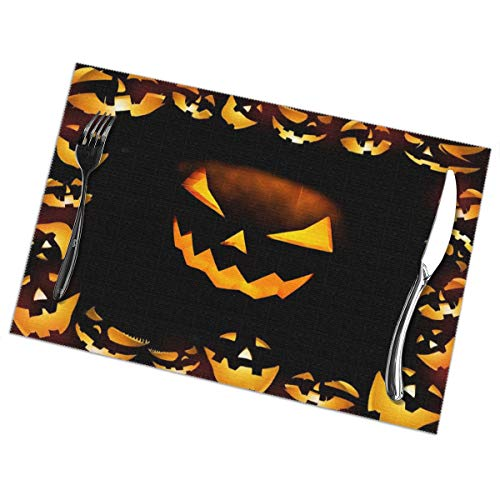 Table Mats Halloween Calabazas Washable Placemats Set Of 6, Heat Insulation Placemats Stain Resistant Anti-Skid Washable Table Mats,Placemats For Home Kitchen Dining Table-30x45 Cm -