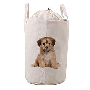 LifeCustomize Large Laundry Basket Hamper Cute Puppy Dog Collapsible Drawstring Clothing Storage Baskets Nursery Baby Toy Organizer