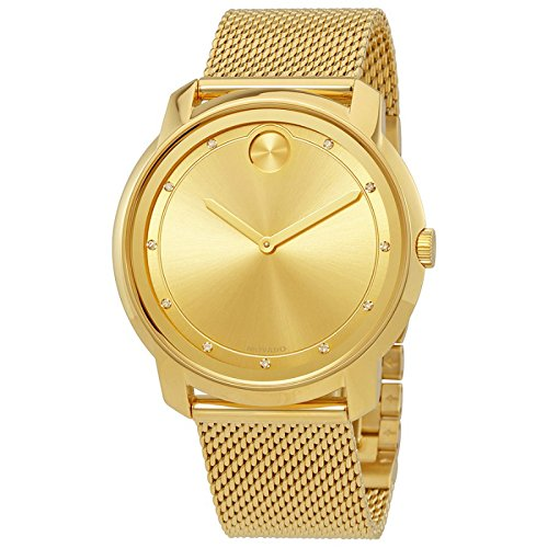 (Movado Bold Large Diamond and Gold Plated Mesh Watch 3600460)