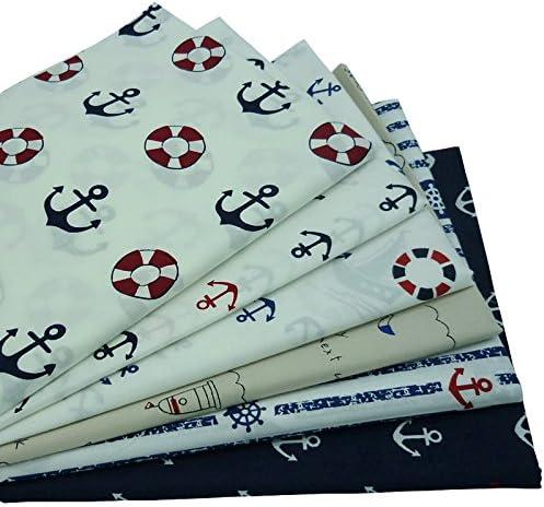 6pieces 40cm * 50cm ancla tejida tela de algodón ,telas para hacer patchwork , telas tilda , retales de telas: Amazon.es: Hogar