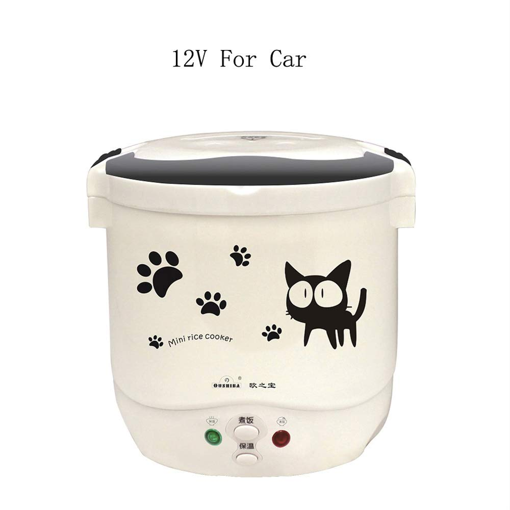 Multi-function(Cooking, Heating, Keeping warm) Mini Travel Rice Cooker 12V For Car (12v white)