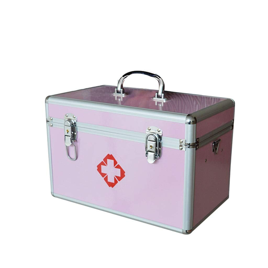 Medicine box Large Multi-Layer Household Medicine Storage Box Medical Household Storage Box First Aid Clinic HUXIUPING (Color : Pink, Size : 12 inches)