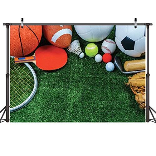 (LYWYGG 7x5ft Photography Backdrops Sports Goods Grassland Spotrs Backdrop For Studio Prop Photo Background Photography Props)