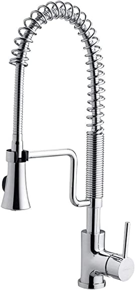 Chrome Brass Spring Kitchen Faucet High Pressure Sprayer Swivel Spout Sink Mixer