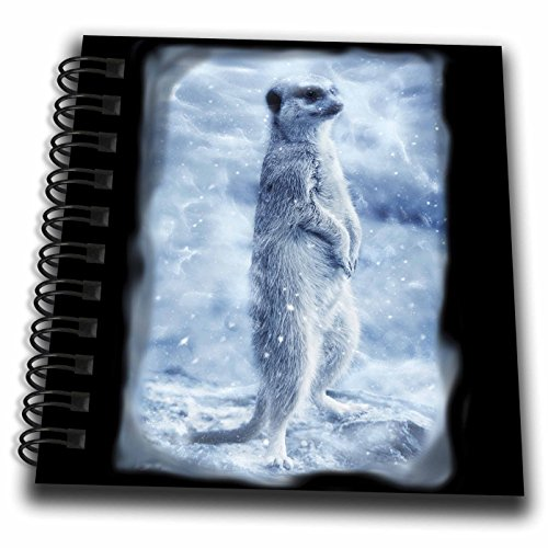Small Twin Loop - 3dRose Sven Herkenrath Animal - Cute Meerkat in a Winter Setting Black Background - Mini Notepad 4 x 4 inch (db_281705_3)