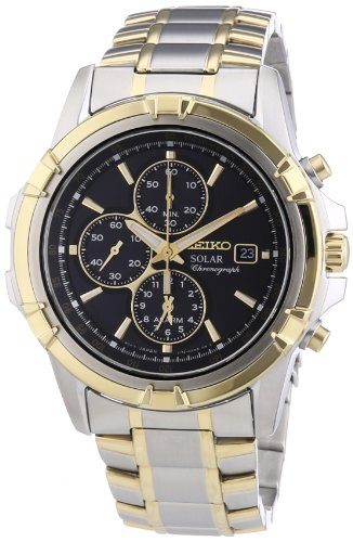 Seiko-Solar-Chronograph-Black-Dial-Two-Tone-Stainless-Steel-Mens-Watch-SSC142