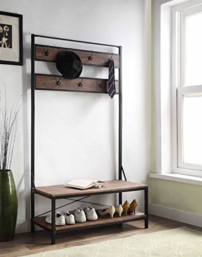 "eHomeProducts Vintage Dark Brown Entryway Shoe Bench with Coat Rack Hall Tree Storage Organizer 7 Hooks in Black Metal Finish - Color: Dark Brown and Black Dimension: table 40""w x 17""d x 72""h Features 2-tier of storage space with top as a seat - hall-trees, entryway-furniture-decor, entryway-laundry-room - 51yvaAWMylL -"