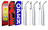 Best buys here sale Open King Swooper Feather Flag Sign Kit With Pole and Ground Spike- Pack of 3