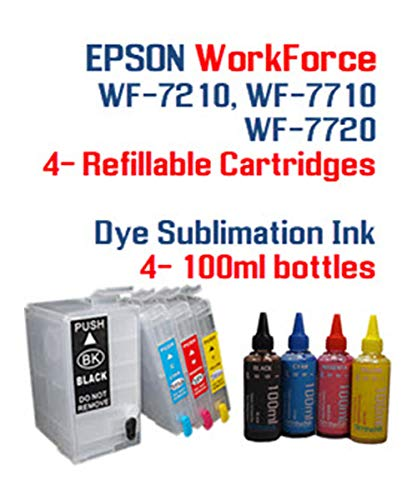 - Dye Sublimation Ink - Workforce WF-7210 WF-7710 WF-7720 Printer Refillable Ink Cartridge Package - 4 Multi-Color Bottles 100ml Each Color - 4 Refillable Ink cartridges