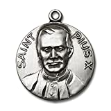 Sterling Silver Pope Pius X Pendant 3/4 x 5/8