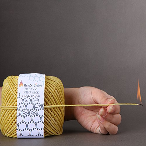 EricX Light Thick Beeswax Hemp Wick , 200 ft Spool, 100% Organic Hemp Wick Well Coated With Natural BeesWax, Thick Gauge(2.0mm)