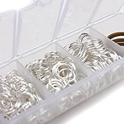 MEIBEADS Silver Plated Open Jump Ring 4mm 5mm 6mm 7mm 8mm 10mm about 1500pcs Container Set with Free Jump Ring Open Tool