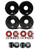 Everland Skateboard Wheels 60x44mm w/Bearings & Spacers (Black)