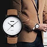 Mens Unique Analog Quartz Waterproof Business Casual Leather Band Dress Wrist Watch with Simple Fashion Classic White Time Mark Design, Key Scrath Resitant Face, 98FT 30M Water Resistant - White