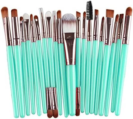BCDshop 20 pcs Makeup Brush Set Cosmetics Foundation Blending Blush Eyeliner Face Powder Brush Make-up Tools Kit Wool Make Up Brush Set (Rose Gold)
