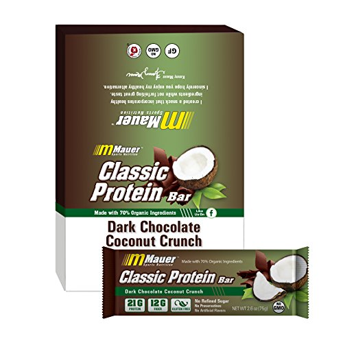 Mauer Sports Nutrition Classic Protein Bars, Dark Chocolate Covered Coconut...