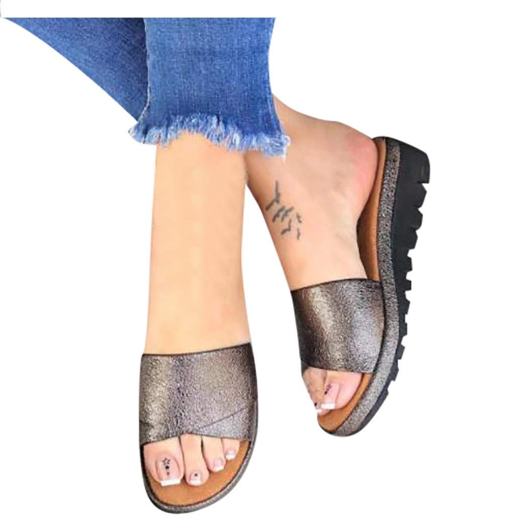 Kawaiine Women's Promotes-Excellence Platform Sandal Roman Slippers Shoes Gray by ★Kawaiine★_Clothing (Image #3)