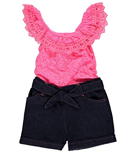 Limited Too Girls' Fashion Short Romper, 2732-Neon Pink, 6/9M