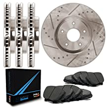 Front + Rear Premium Slotted & Drilled Rotors and Carbon Pads Brake Kit TA102833 | Fits: 2012 12 2013 13 Honda Pilot
