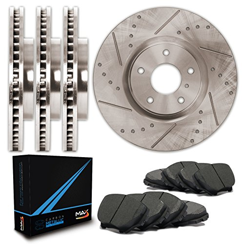 Front + Rear Premium Slotted & Drilled Rotors and Carbon Pads Brake Kit TA013833 | Fits: 2004 04 2005 05 Buick Rainier CXL or CXL Plus Models with 4.2L 6 Cylinder (4.2l 6 Cylinder Engine)