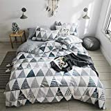 VClife Geometric Bedding Sets Chic Teens Full Bedding Duvet Cover Sets Luxury Gray Comforter Cover Sets, Zipper Closure & Corner Ties, 3 PCS Bed Sets (1 Duvet Cover and 2 Pillow Shams), Queen
