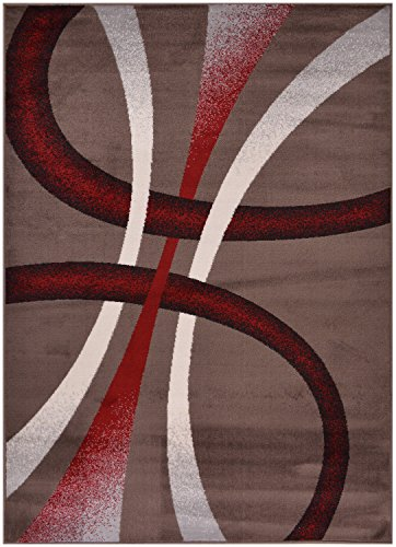 "Cheap Comfy Collection Stripes Geometric Modern Area Rug Contemporary Rug 3 Color Options (Cappuccino, 4'11"" x 6'11"")"