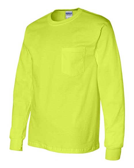 0910076e41b Amazon.com  Gildan mens Ultra Cotton 6 oz. Long-Sleeve Pocket T-Shirt(G241)-SAFETY  GREEN-5XL  Clothing