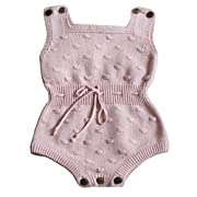 Wennikids Baby Boys and Girls knitting Sweater Crochet Romper Climbing Clothes Small Pink