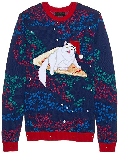 Blizzard Bay Men's Pizza Cat Galaxy Ugly Christmas Sweater, Large]()